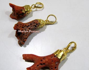 SALE- Top Quality Natural Italian Coral Pendant , 1 to 1.5 inches Coral Branch Dangle Charm Pendant Gold Electroplated Cap- Birth Gemstone.