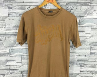 Vintage 90's STUSSY T shirt Small Stussy Spell Out Big Logo Skateboard New York Stussy Skater Brown Streetwear T shirt Size S