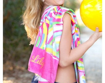 Monogram Beach Towel, Personalized Beach Towel, monogram pool towel anchor monogram, rainbow towel, preppy, nautical, boat towel, bridal par