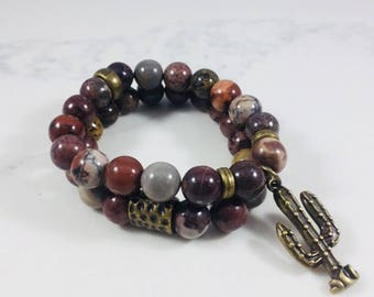 """SALE! Set of 2 """"Roswell"""" jade beaded bracelets with cavtus charm • Fast and free shipping"""