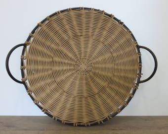 Large empty Pocket RAOUL GUYS France rattan and metal mid century 1950 1960 '50s 60's metal and wicker empty pocket