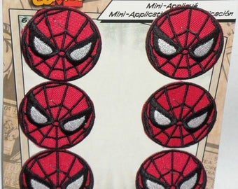 "6 MARVEL COMICS SPIDERMAN Logo Embroidered iron on Patch 1 5/8"" New set of 6"