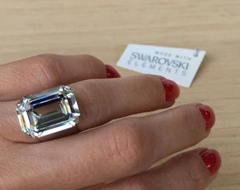 Amy Ring.  Beautiful Statement Sparkly Ring with 18x13mm Swarovski Stone. Big Crystal Ring. Shiny Ring