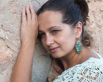 ON SALE Bohemian Polymer clay Earrings Art Deco Green earrings Bohemian Jewelry Boho Chic Jewelry Earrings for Womens Unique Gift
