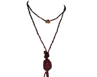 Victorian Red Garnet Tassel Flapper Necklace