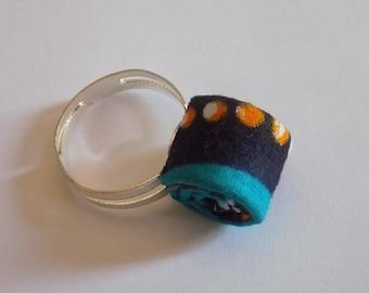Original ring blue/purple/yellow wax fabric