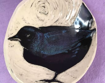 Carved Crow Ring Dish or Spoon Rest