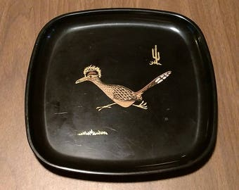 Vintage Couroc, black tray with inlaid cactus/roadrunner