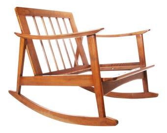 Mid Century Modern ROCKER rocking chair vintage wood danish hans wegner bentwood arm space age 50s 60s scandinavian eames era side accent