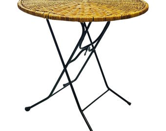 Mid Century Modern FOLDING SIDE TABLE wicker black metal 50s iron arthur umanoff paul mccobb end patio porch