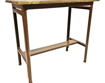 Vintage INDUSTRIAL SIDE TABLE Wood Top brown metal mid century plant stand steampunk desk accent typewriter architectural salvage double