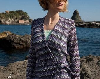 On SALE Ready To Ship summer jacket asymmetrical missoni fabric chevron smart casual work gift handmade belt purple white