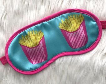 French Fries Sleep Mask - blue satin eye mask / sleeping mask - fries, nap time, travel