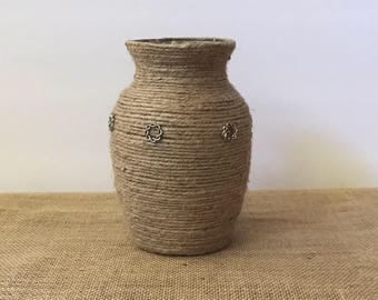 Jute wrapped vase, Rustic Vase