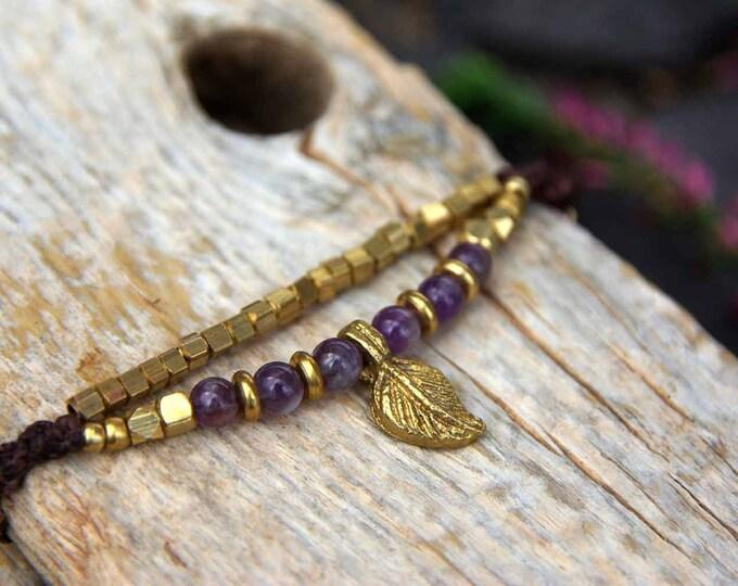 Double macrame bracelet,  AMETHYST & brass bracelet, yoga talisman, stone amulet, goddess bracelet, gift for her, nickel free, free shipping