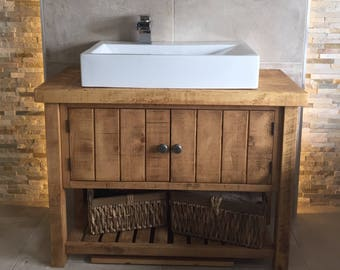 Rustic Chunky Solid Wood Bathroom Washstand Vanity Sink Unit handmade to  order Vanities Etsy UK