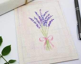 Lavender Greeting Card - Blank Inside - Print of Original Hand Drawn Coloured Pencil Drawing by CottageRts