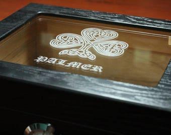 Personalized Humidor, The Capri 25-50 Cigar Black Glass Top