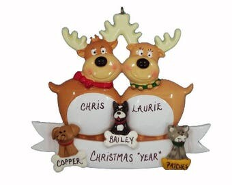Personalized Reindeer Couple with 3 Custom Dog or Cats Added Ornament - Couple Ornament with 3 Pets - Couple with Dogs or Cats Added