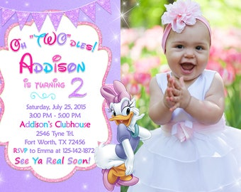 Daisy Duck Invitation, Daisy Birthday Party, Daisy Invitation, Minnie Mouse Invitation