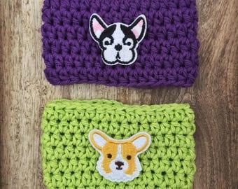 Puppy Cozy // Boston Terrier // Corgi // Reusable Coffee Sleeve