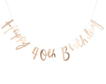 Gold 40th Happy Birthday Banner Bunting - Party, Celebration, Decorations