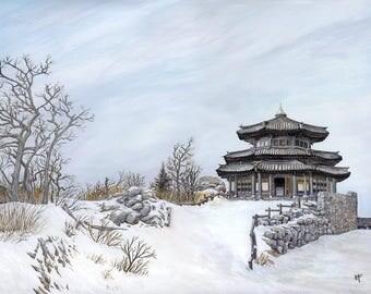 Peinture originale : Temple Coréen