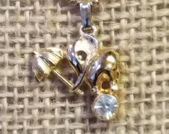 Vintage Tiny elephant balancing on ball necklace, elephant necklace