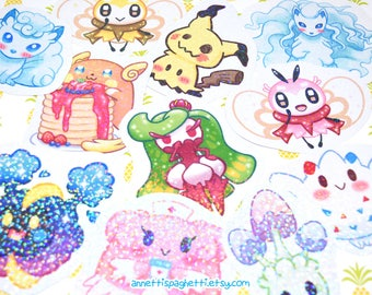 Sparkly Holographic Pokemon Themed Handmade Stickers