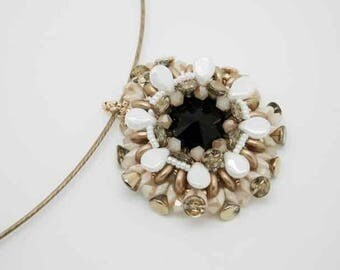 -Rigid with White, black and Gold Pendant Necklace