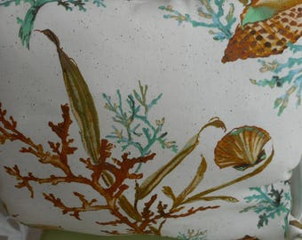 """Coral Reef and Shells Throw pillow, Qty - 1 - speckled beige on reverse side, Size 19x16""""  25.00e a"""