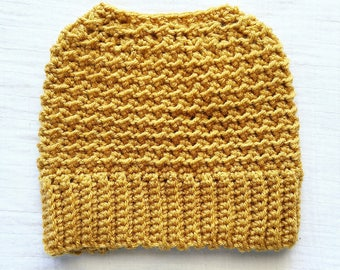Mustard Messy Bun Beanie adult crochet ponytail hat gift for women hat with bow adult crochet hat