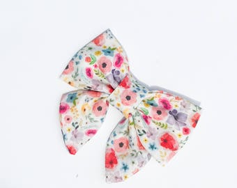 Inky Watercolor Bow- Sailor Bow
