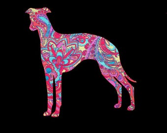Snap Dog English Whippet patterned vinyl decal in many prints and sizes!