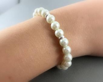 White Pearl Bracelet, Silver Pearl Bracelet, Bridal Pearl Bracelet, Sterling Silver Bracelet, White Pearl Bracelet, Bridesmaid Jewelry