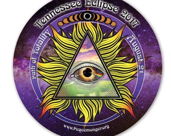 EC043 - Tennessee - All Seeing Eye Total Solar Eclipse 2017 Souvenir Sticker (or MAGNET)
