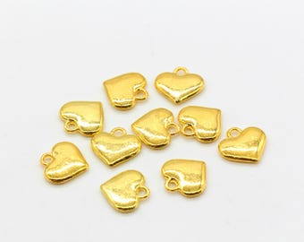 10 Pcs Heart Charms Love Gold Charms Gold Plated 2 Sided 11x12mm - G41
