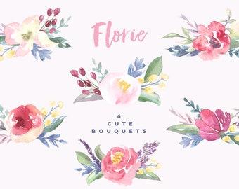 Hand Painted Watercolor flower clipart, watercolor floral bouquets, arrangements, DIY wedding invitations