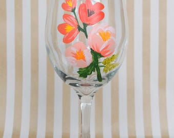 Peach Floral Hand Painted Wine Glass