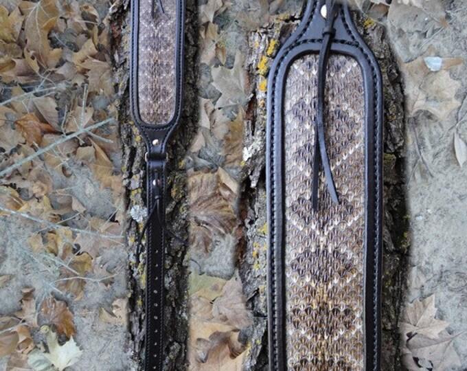 Black on Black Rifle Sling With Western Diamondback Rattlesnake Inlay, Rifle Sling, Leather Rifle Sling