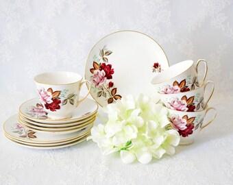 Floral Tea Cups for 4, Vintage Bone China Tea Set, Gold Back Stamp, Mid Century Flower Design, Burgundy Red Floral Pattern, c 1940s