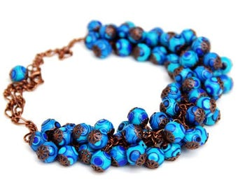 Blue Chunky necklace, Blue Beads necklace, Beaded Necklace Handmade, Polymer Clay Jewelry Necklace,  Bold necklaces, Fashion jewelry for Her