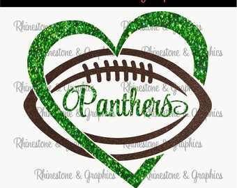 Panthers Football Heart Design Pattern Graphic Design Instant Download EPS SVG DXF  Cutting Files Cameo