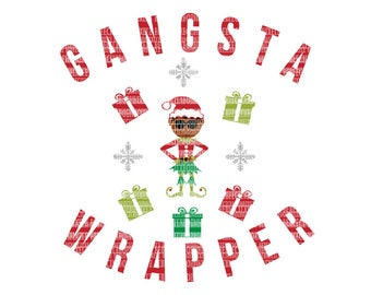 Christmas SVG Christmas SVG Gangsta Wrapper SVG Cut Files Silhouette Cameo Cricut Design Space Iron On Heat Transfer Vinyl Commercial Use