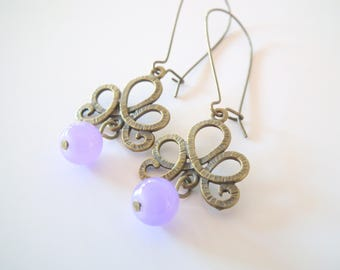 """Bronze and purple """"Embraced"""" earrings"""