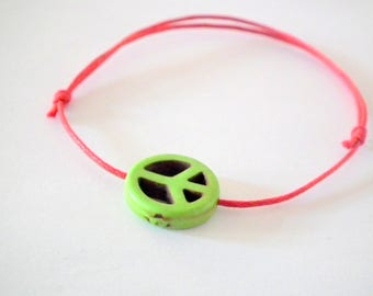 Bracelet pink and Pearl peace and love green