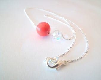 Silver necklace, salmon Pearl and Crystal bead