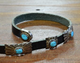 Sterling Silver and Turquoise Concho Belt By Navajo MR