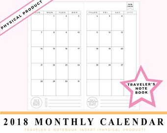 2018 Monthly Dated Calendar Travelers Notebook Insert Midori, Fauxdori, Foxy Fix #6 style refill - Dated Planner