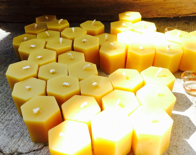 100% Pure Beeswax Tea Light Candles. Set of 10 beeswax tea light candles
